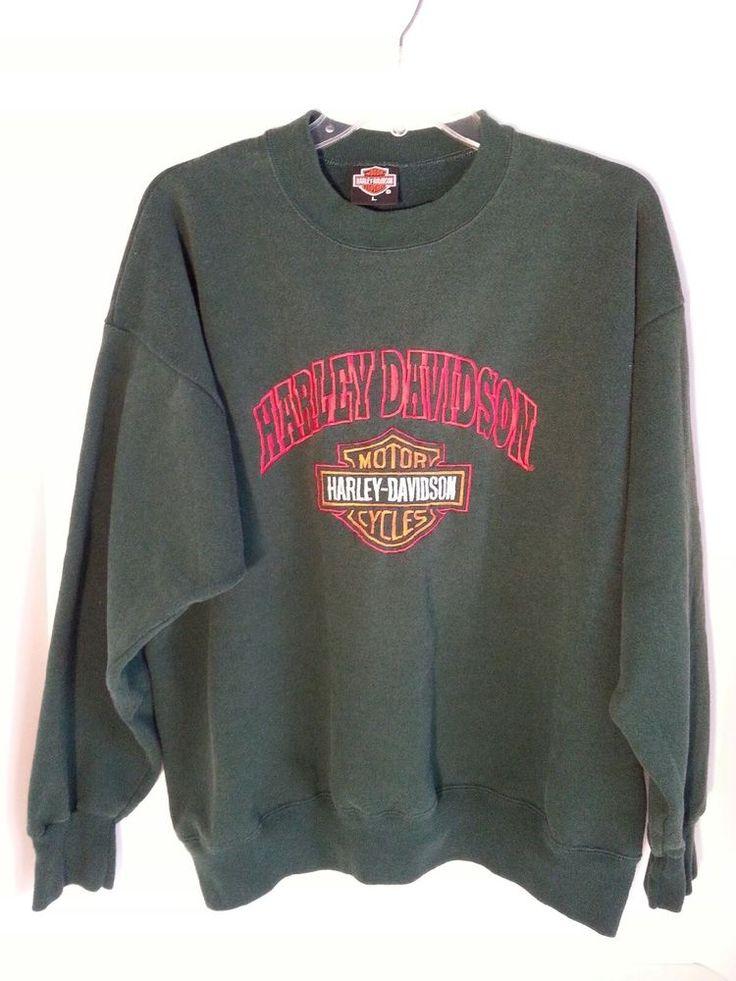 Harley Davidson Sweatshirt UNISEX Pullover Crew Embroidered Green Size L Adult #HarleyDavidson #Sweatshirt