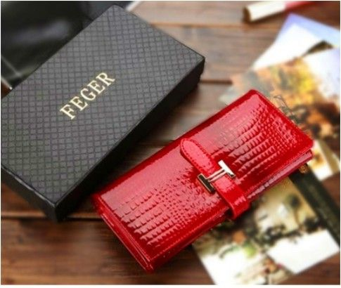 Ladies' FEGER Red Colour Genuine Leather Wallet Gift Box Set