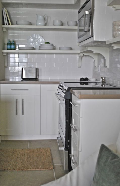 Source Vreeland Road Compact Kitchen Design With Off White Ikea Adel Cabinet Doors And White Subway Tiled Backsplash Tiled Floors Stainless Steel
