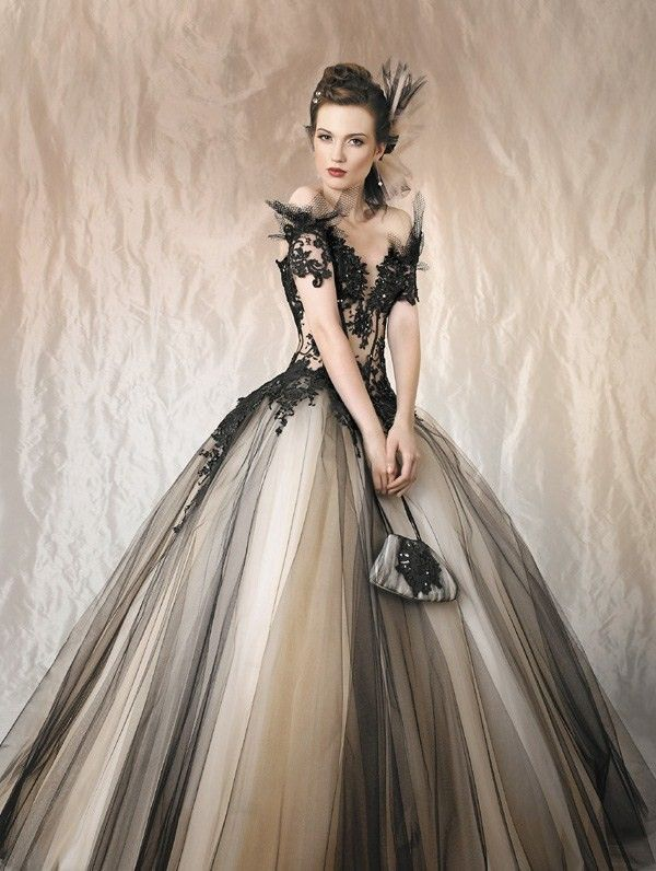 The sleeves. Halloween Black and Nude Tulle Wedding Dress