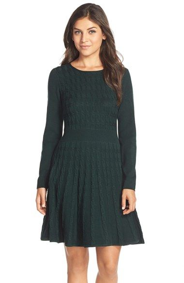 Free shipping and returns on Eliza J Cable Knit Fit & Flare Sweater Dress at Nordstrom.com. A classic cable-knit sweater takes a modern twist as this flirty fit-and-flare dress with long ribbed sleeves and a ribbed inset nipping in the waist.