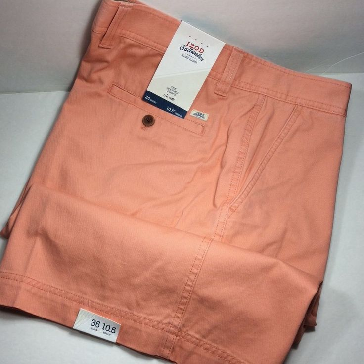 IZOD SALTWATER MEN'S FLAT FRONT SHORTS.PEACH AMBER.SIZE 36.NWT. MSRP. $50.00 #IZOD #CasualShorts