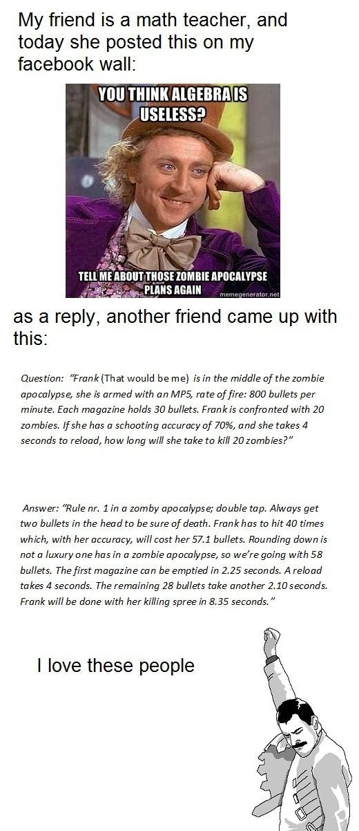 Algebra and the zombie apocalypse. Yes.