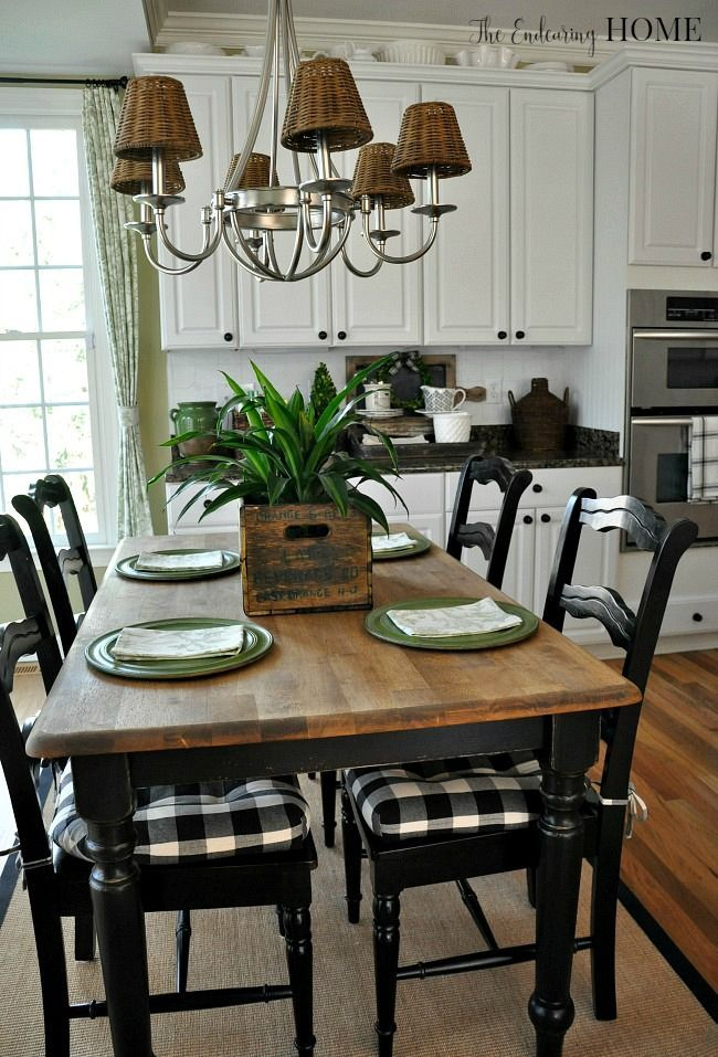 Talks about Reclaim paint she used and Ms. mustard Seed hemp oil for the top - Farmhouse Kitchen Table Makeover - The Endearing Home