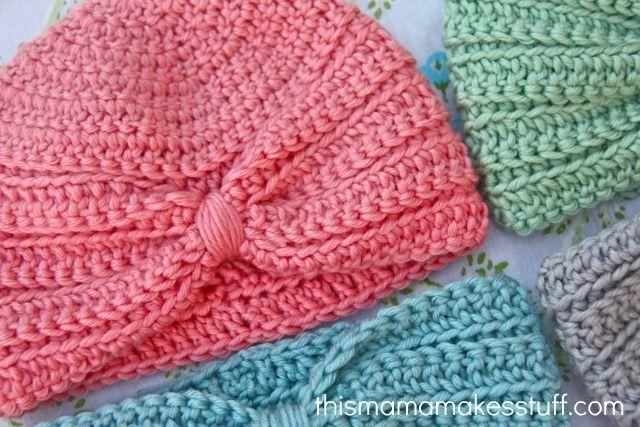 Crochet Baby Turban Pattern & Tutorial on This Mama Makes Stuff at http://thismamamakesstuff.com/crochet-baby-turban-pattern-tutorial/