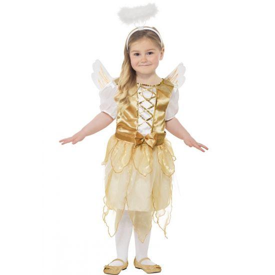Engel kostuum voor meisjes. Gouden engelen kostuum voor kinderen. Dit engeltjes kostuum bevat een jurkje, vleugels en halo. Carnavalskleding 2015 #carnaval