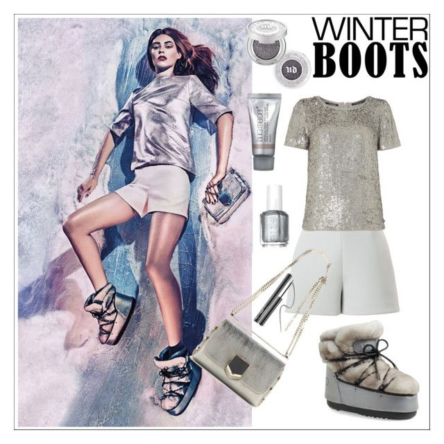 """""""Ice"""" by simona-altobelli ❤ liked on Polyvore featuring Jimmy Choo, Moon Boot, Delpozo, Maison Scotch, Urban Decay, Laura Mercier, Essie, Ciaté, winterboots and polyvorecontest"""