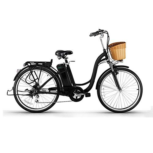 Women Black 26-inch Camel Female Electric Bicycles with a Basket, Los Angeles Shipment Sporting Mountain Electric Cargo-Electric Motorized Assist Moped Bicycles, Environmental Protection e Bike * Read more  at the image link.