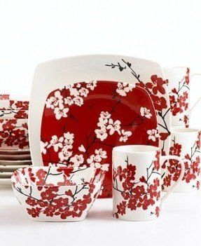 222 Fifth Dinnerware, Mia Blossoms 16 Piece Set