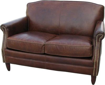 Nice Vintage Brown Leather Two Seater Studded Sofa   EBay