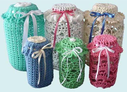 Maggie's Crochet · Easy Lace Jar Covers Set 1 Crochet Pattern