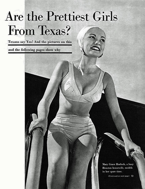 """""""Are the Prettiest Girls From Texas?""""  Cover of Look Magazine, March 1, 1949."""