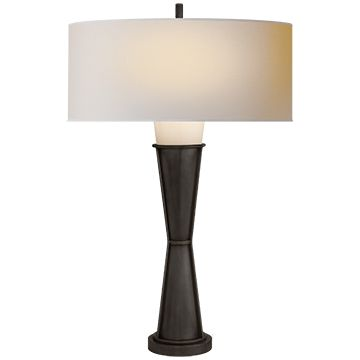 Visual comfort lighting thomas obrien robinson table lamp in bronze small natural paper shade table task lamps