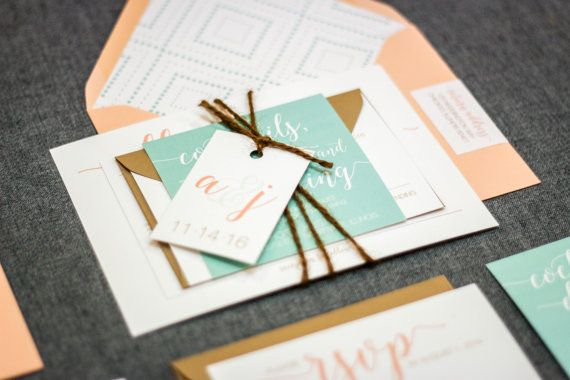 Rustic Wedding Invitations, Peach & Mint Wedding Invitations, Mint Green Invites, Whimsical Calligraphy - Flat Panel, No Layer