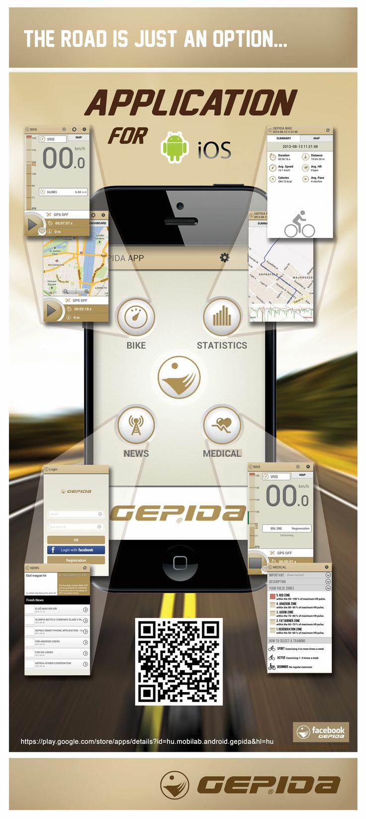 Track your workouts, analyze your trainings and take care your health every day .. all in one APP and it is free from Gepida. Practical way to manage individual's bicycle or sport activities within a controlled form that supports easy access on their smart phones with blue tooth health care devices and wide range of Statistics with web application. Check it out on www.gepidapp.com
