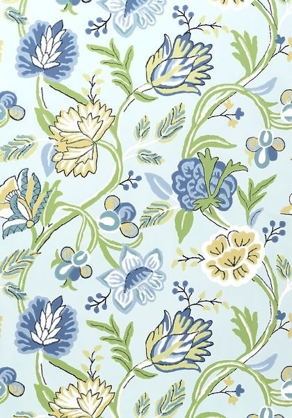 Cayman #wallpaper in #blue and #green from the Jubilee collection. #Thibaut