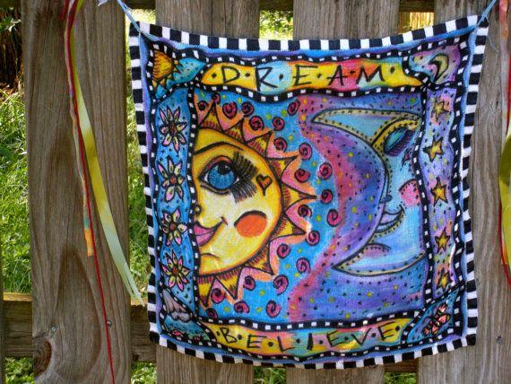 Sun and Moon Peace Garland Hippie Peace Flag by DawnCollinsArt