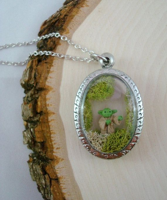 Yoda in Degobah Terrarium Necklace  Star Wars  by AllSewnUpCustoms