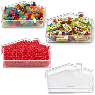 Great Idea for Real Estate Agents, Home Care Services, Home Mortgages, HOme Decorating, Home Cleaning Services, Home Construction and more! House your next promotion right here! This novelty plastic container is shaped like a house and comes filled to the roof with delicious candy. A great way to promote anything from real estate agencies to home improvement companies. Customize this plastic container with your company name and logo so customers can take your message with them wherever they…