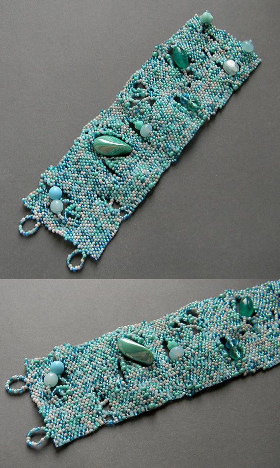 Turquoise freeform bracelet boho style freeform by Anabel27shop