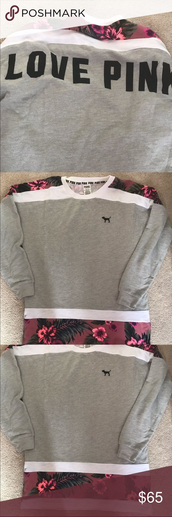 NEW VS PINK SLOUCHY CREW PULLOVER XS GREY FLORAL NEW VS PINK SLOUCHY CREW PULLOVER SZ XS LIGHT GREY WITH MULTICOLORED FLORAL DESIGNS. BACK HAS BLACK GRAPHICS READING PINK PINK Victoria's Secret Tops Sweatshirts & Hoodies