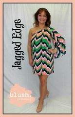 Jagged,Edge,One-Shoulder,Shift,Dress,lilly pulitzer, lilly, boutique chevron dress, Easter dress, trendy easter dress, mint chevron dress, kelly green chevron dress, chevron shift dress, kelly green and navy dress