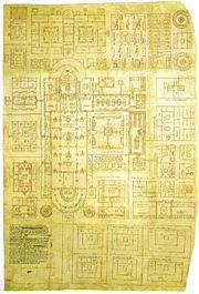 La pianta dell'Abbazia di San Gallo disegnata tra l'816 e l'830