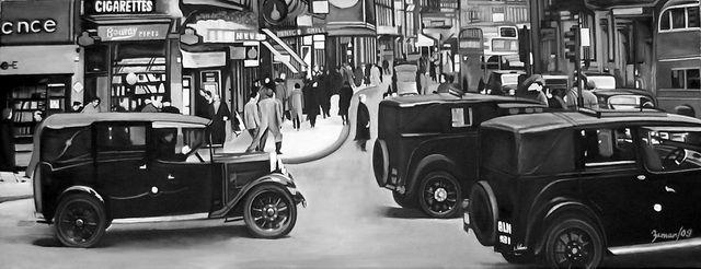 London 1900y. 120x50, oil paint, oil on canvas... autor: Petr ZEMAN, Czech republic, Vrchlabí 2009 - SOLD