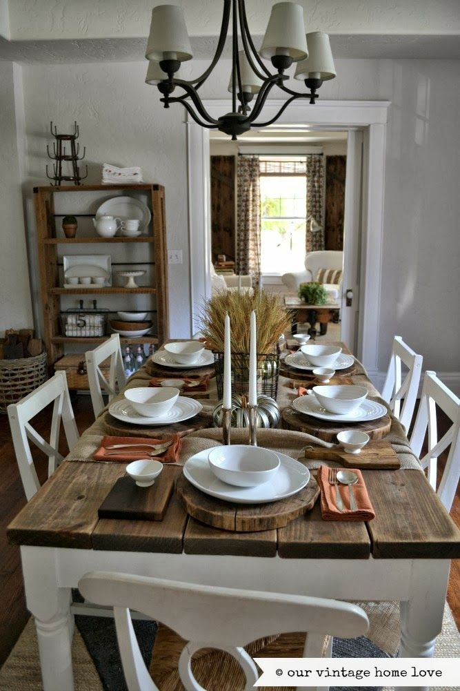 Our Vintage home Love ~ Fall table ideas.. Oooohhhh nick could do this... Dinning room table...