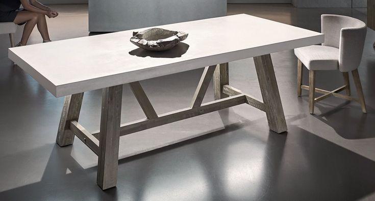 Concrete Top Acacia Frame Concrete Table Top Concrete