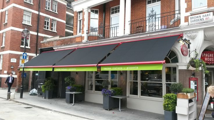The Spaghetti House always choose Deans Blinds & Awnings  These are powder coated Markilux 990 awnings