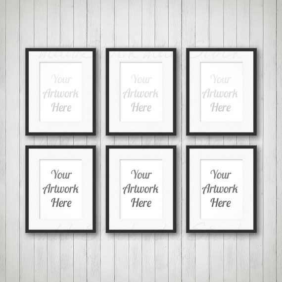 Set Of 6 Black Frames For Wall Art Display Mockup By