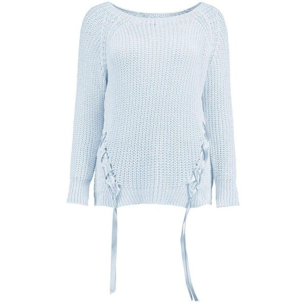 Boohoo Katie Lace Up Jumper | Boohoo (£17) ❤ liked on Polyvore featuring tops, sweaters, party jumpers, turtle neck sweater, sequined tops, sequined sweater and knit turtleneck sweater