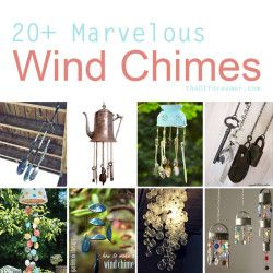 I adore wind chimes! I have several hanging on my screened porch yuet I can never get enough. I hang them there, from trees, underneath the upper deck - anywhere I can hear their beautiful melodeous twinkling music. Here's 20+ ideas for wind chimes you can make yourself!