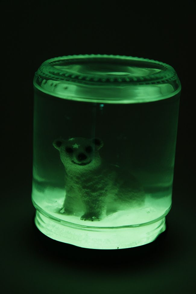 DIY Glow in the Dark Snow Globe | Wow, I thought I'd seen everything but here is a tute for a glow in the dark snow globe - must try this one - I didn't even know the products used even existed!!!!