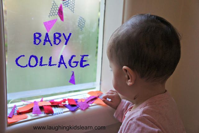 Lynnette-This Baby Collage using contact paper and scraps would be another perfect idea for one of our baby time sessions given all the windows in the activity room.