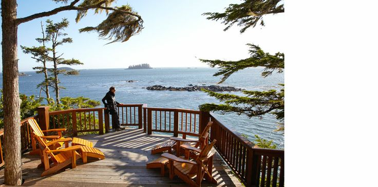 Enjoying the view off of the Headlands Lodge deck.