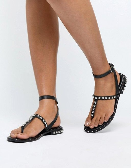 0e7ac2f7e5284 DESIGN Fame premium studded leather sandals in 2019