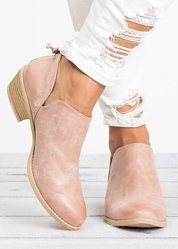 Low heel ankle boots, Chunky heel shoes