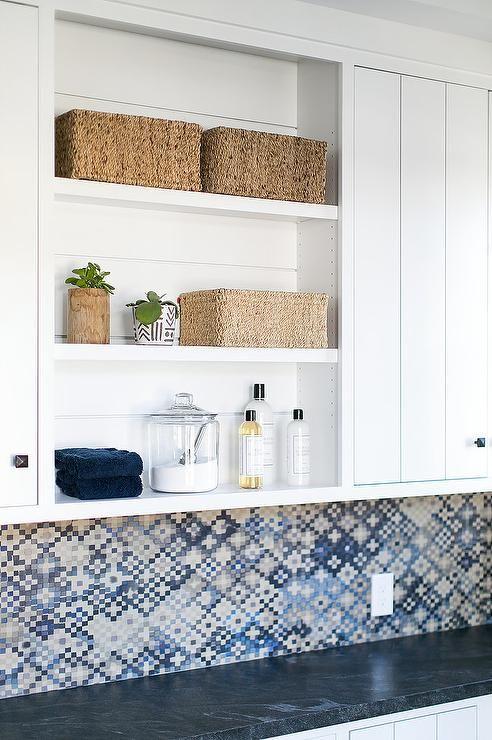 White & Blue Laundry Room with Stacked Shelves | Elizabeth Brooke Design |