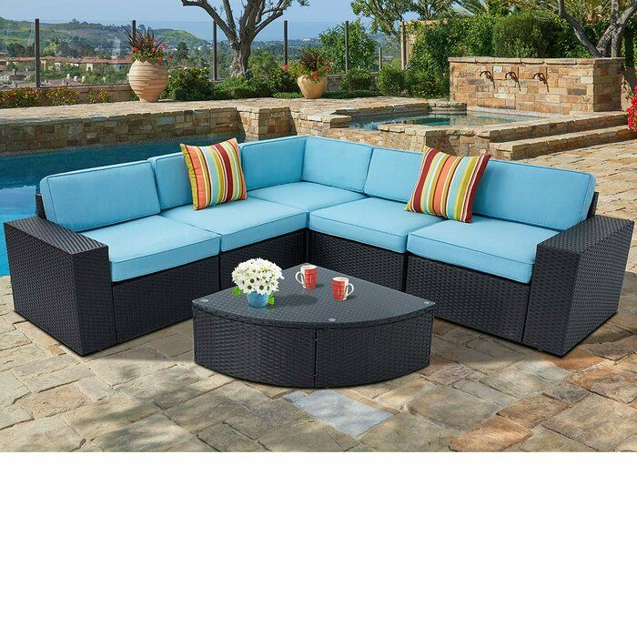 Rone Outdoor 6 Piece Black Wicker Sectional Sofa Wedge Table Set