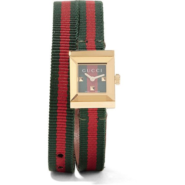 dd996d17c51 Gucci Canvas and gold-tone watch (42.655 RUB) ❤ liked on Polyvore featuring