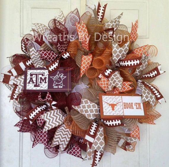 House Divided Wreath-Texas A &M Wreath-Football https://www.etsy.com/listing/245155928/house-divided-texas-a-m-wreath-texas