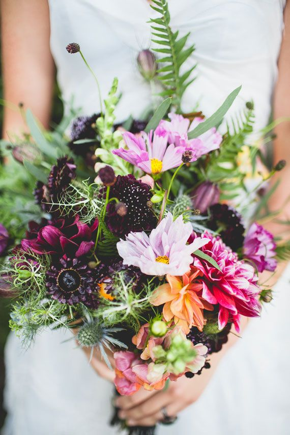 Warm pinks, purples + orange wedding bouquet | Frida Kahlo | Photo by Beth Olson Creative