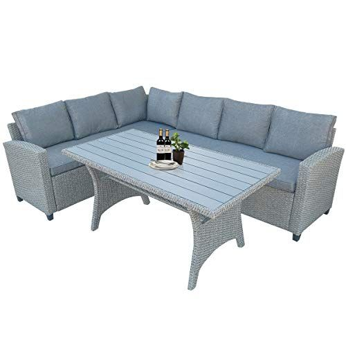Hommoo 3 Piece Wicker Patio Furniture, Outdoor Sectional Couch With Dining Table