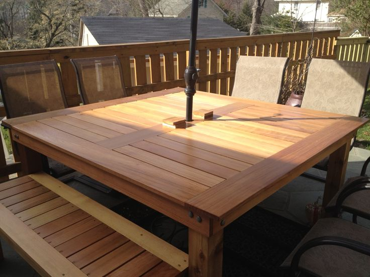 Simple Square Cedar Outdoor Dining Table @Kelli McPhail