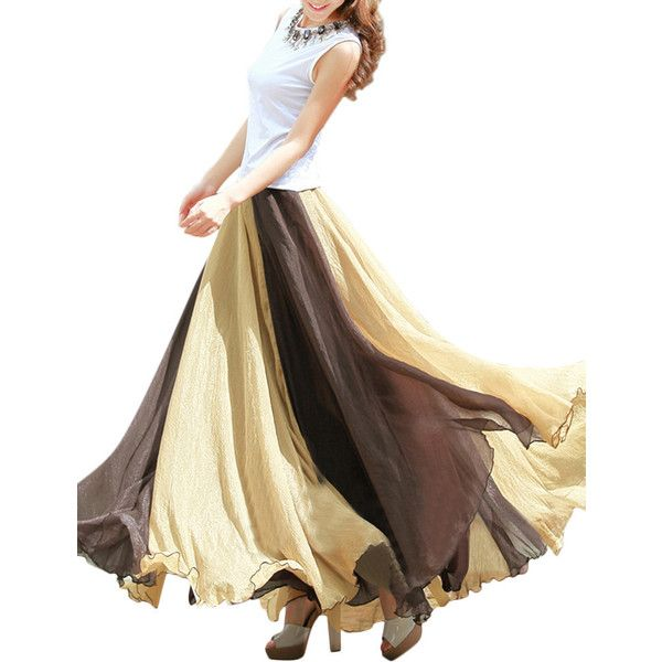 Chiffon Mix Color Pleated Elastic Waist Maxi Skirt (1860 RSD) ❤ liked on Polyvore featuring skirts, coffee, women bottoms skirts, long pleated chiffon skirt, pleated chiffon maxi skirts, long chiffon skirt, long pleated skirt and white chiffon skirt