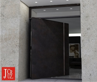 Contemporary Front Door with Metal Patina & Transom