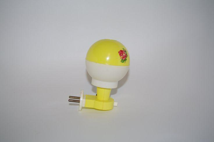 Children's Lamp - Night Lamp - Vintage Soviet Lamp - Polish Plastic Lamp for Children - Red and Yellow Desk Lamp Rose Night Light- Kid Lamp by VintagePolkaShop on Etsy