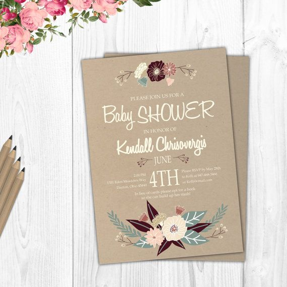 Rustic Baby Shower Invitation Printable by TheCutePaperStudio